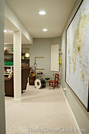 blue gray walls basement