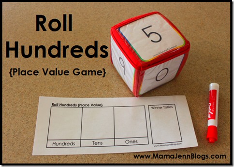 image about Printable Place Value Game identify Printable Point Expense Game titles Roll 1000's Roll Hundreds