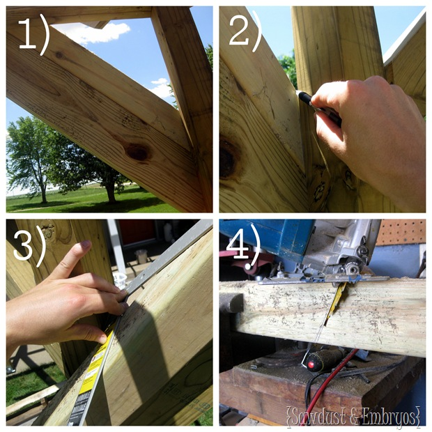 Laying out & Cutting Compound Angles for Pergola Braces {Sawdust and Embryos}
