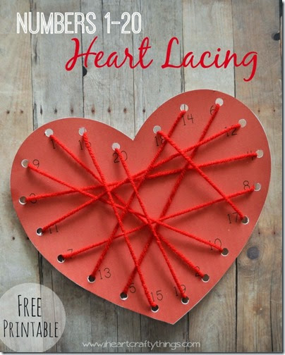 Numbers Heart Lacing Math Craft - This is such a fun, clever idea for Preschool and Kindergarten age kids.