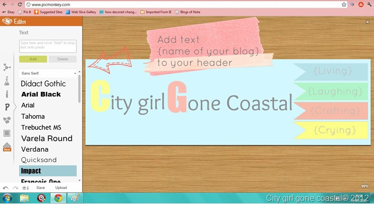 adding text to blog header