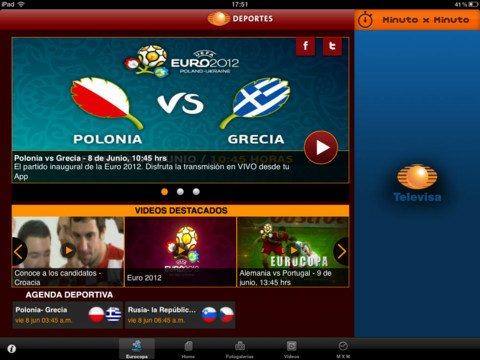 partidos de la Eurocopa 2012 en vivo desde el ipad