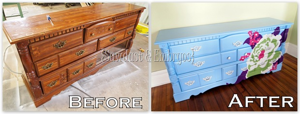 Another AWESOME before and after furniture project from SAWDUST AND EMBRYOS!