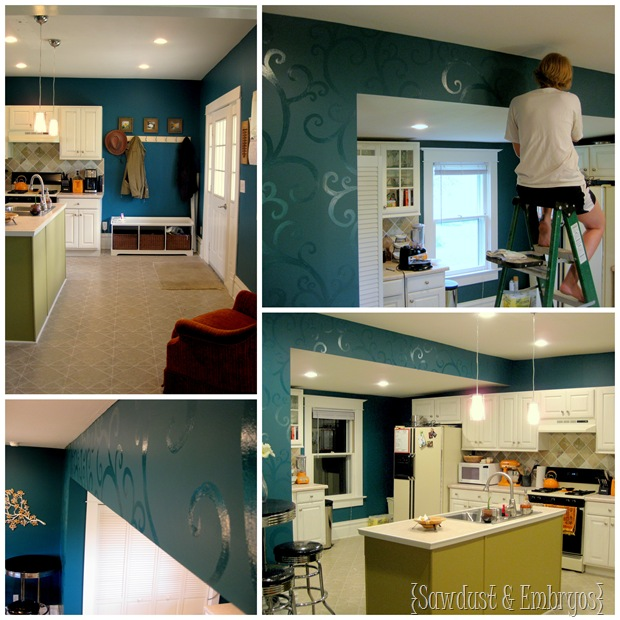 Kitchen Transformation (Glossy Swirls on Accent Wall (by Sawdust and Embryos)