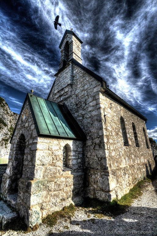 Freaky church and crow Bavaria