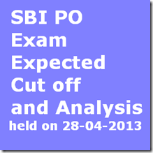 SBI po exam expected cut off 2013