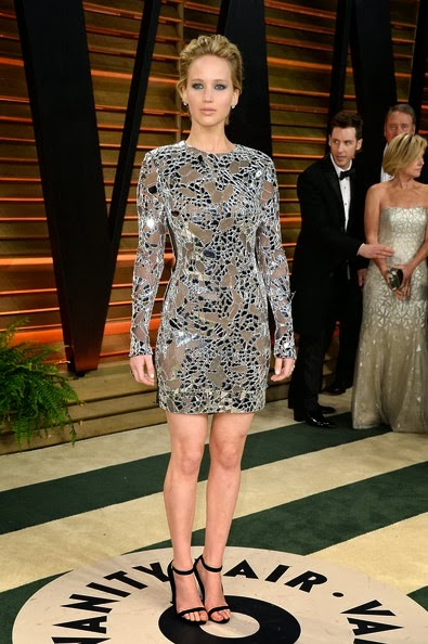 Jennifer Lawrence attends the 2014 Vanity Fair Oscar Party