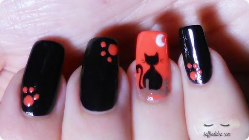 nail art , soffio di dea , soffiodidea , halloween , gatto nero , 6a