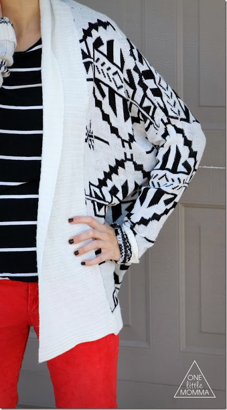 Pattern mixing with stripes and aztec print