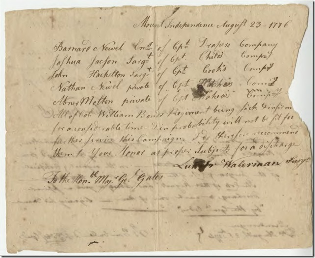 List of Soldiers Being Discharged Due To Illness  Luther Waterman Signed Document 1776