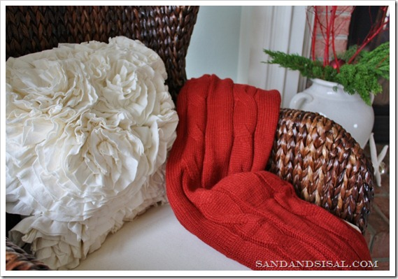 sweater throw and ruffle pillow