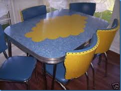 blue table and chairs