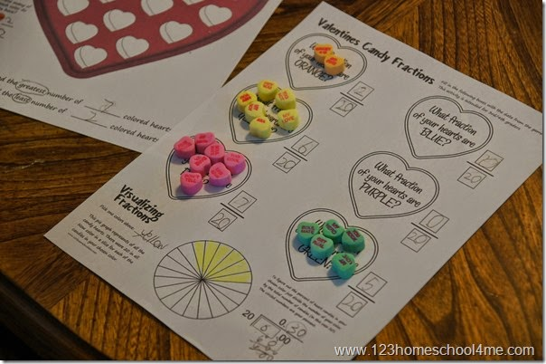Valentines day Candy Heart Math  Fractions