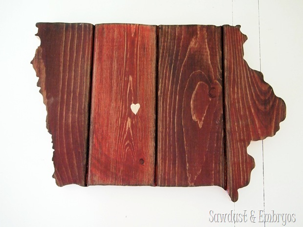 State Plaque (IOWA!) made from barn boards ...you could make ANY STATE! (Sawdust and Embryos)
