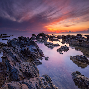 Sunrise at Pantai Pandak by Nur Ismail Mohammed - Landscapes Beaches ( epic, reflection, terengganu, sunrise, pantai pandak, rocks )