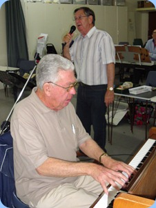 Jim Nicholson on piano accompanying Len Hancy on vocals