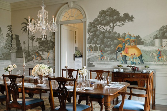 20 Comedores convencionales decorados con atractivos murales - iDecorar