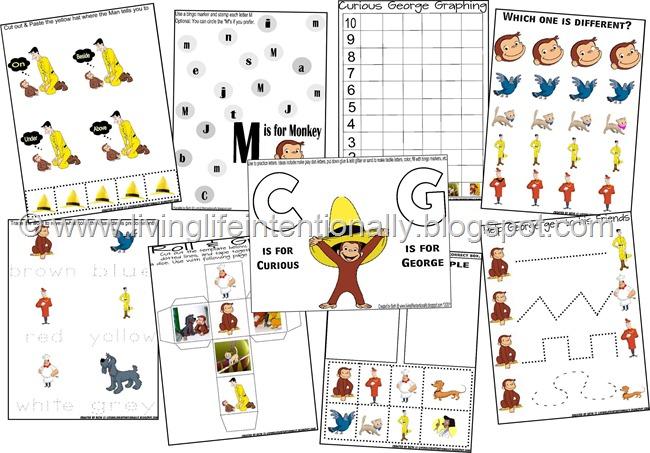 FREE Curious George Preschool Worksheets and Kindergarten Worksheets