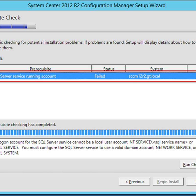MINDCORE BLOG: SCCM - SQL Server service running account error