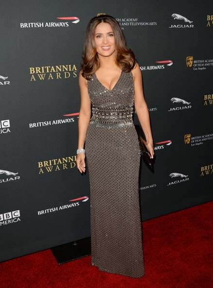 Salma Hayek attends the 2013 BAFTA LA Jaguar Britannia Awards