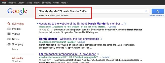 Search Results pointing to Harsh Mander's association with Pakistani front organisation, the Justice Foundation - a miniscule number