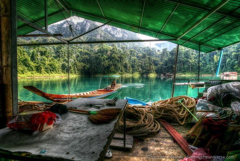 Long tail boat pushing lake house khao sok national park thailand