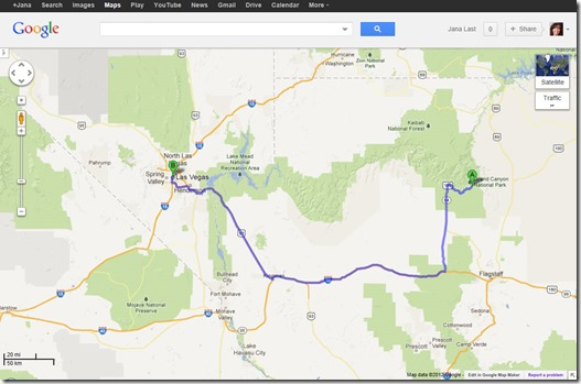 Googlemap from Grand Canyon to Las Vegas