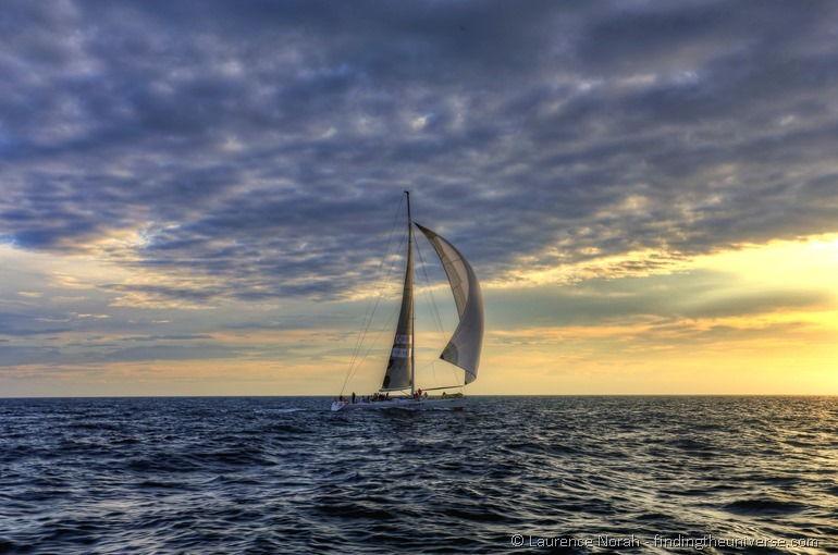 Sail boat at sunrise