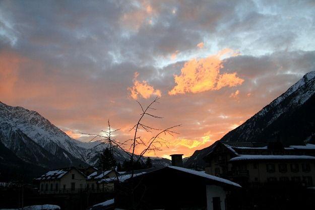 Chamonix at sunset