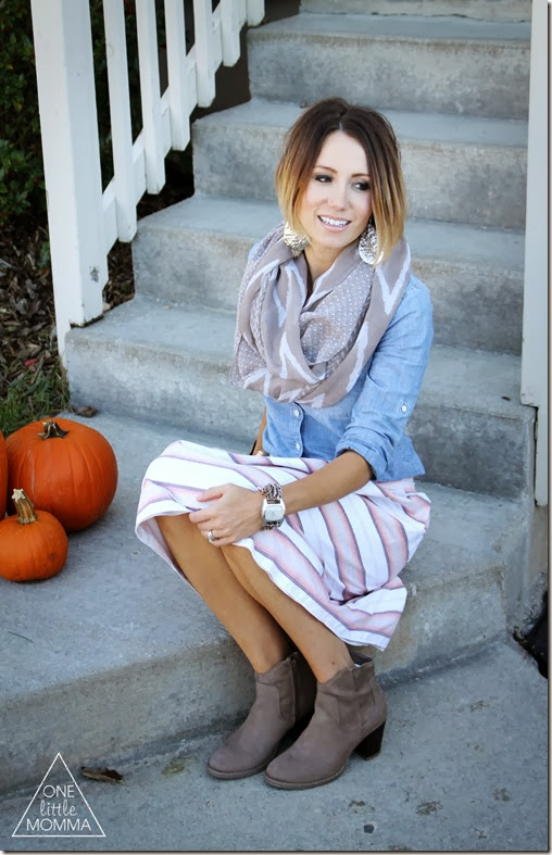 Chambray + Full Skirt + Scarf + Ankle Boots