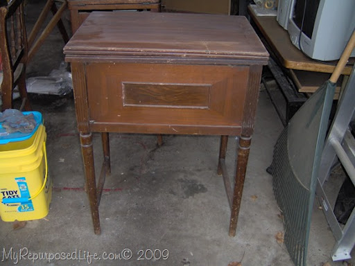 Vintage sewing cabinet now a cute side table - My Repurposed Life®