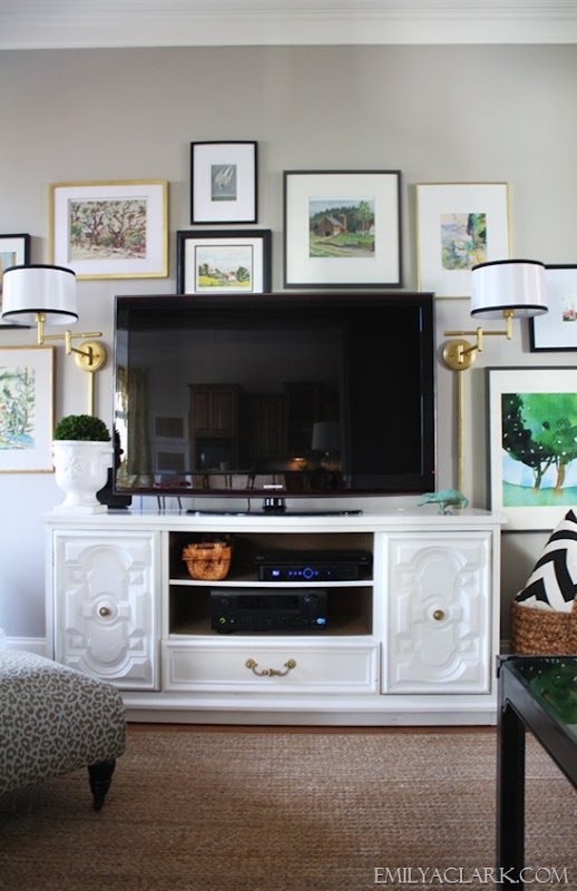 wall lamps and TV gallery wall