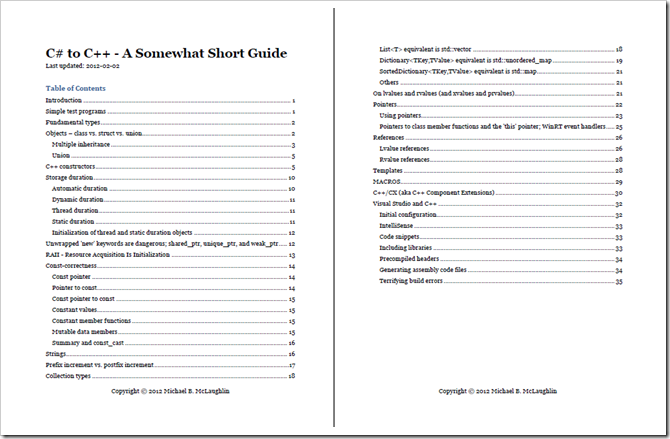 From C# to C++, the short guide that isn't (all that short
