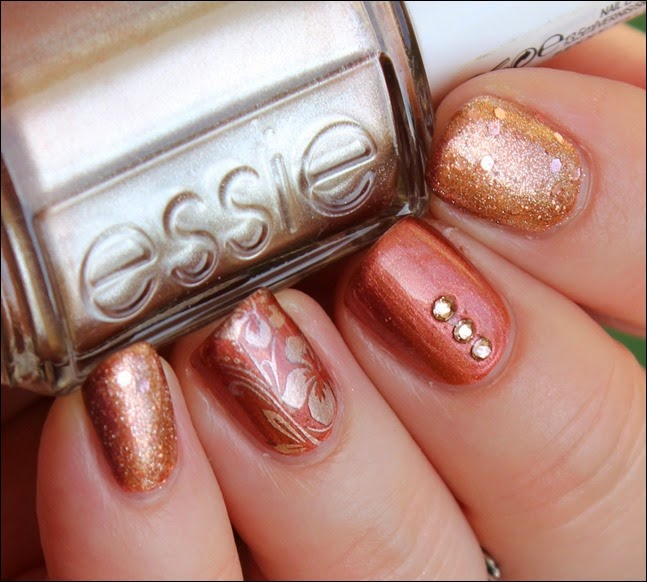 Hint of Autumn Nail Art Copper Essie Penny Talk