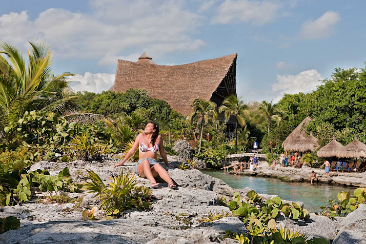 Sunbathing at Xcaret Park, south of Cancun, Mexico.