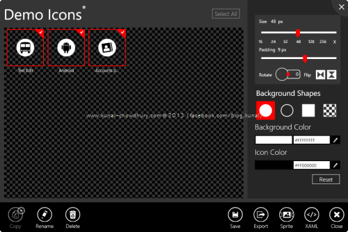 8. Syncfusion Metro Studio 2 - Edit Multiple Icons inside a Project