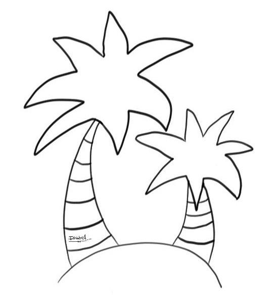Palmeras En La Isla Dibujo Para Colorear Gratis
