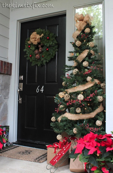 Burlap tree front porch
