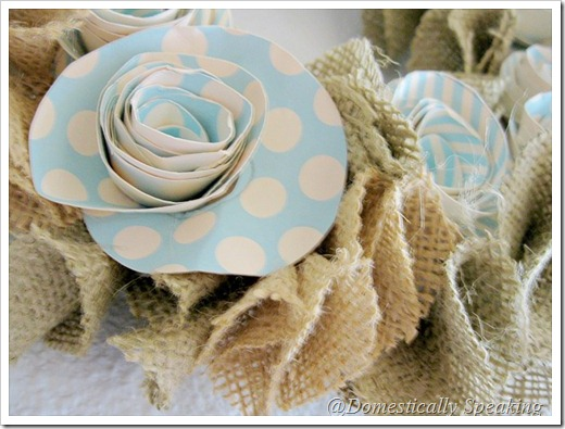 Burlap and Paper Flower Wreath