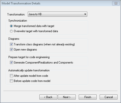 Model Transformation dialog in Altova UModel