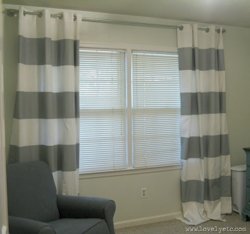 DIY Gray Striped Curtains