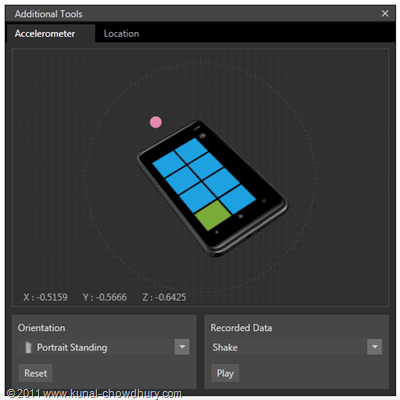 WP7.1 Demo - Accelerometer Tool - Placing the Phone in Emulator