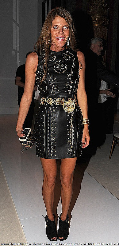 Versace for H&M Black studded leather dress on Anna Dello Russo at Paris Fashion Week,  Balmain and Nina Ricci shows
