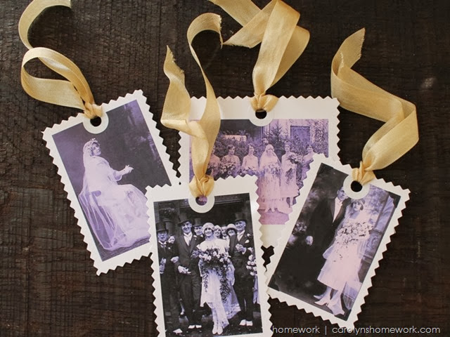 Vintage Photo Wedding Tags via homework | carolynshomework.com