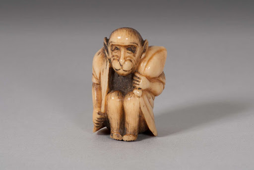 Netsuke: Seated Monkey Holding a Peach