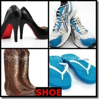 SHOE- 4 Pics 1 Word Answers 3 Letters