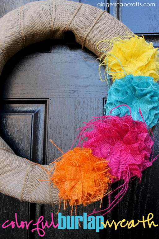 600 colorful burlap wreath at GingerSnapCrafts.com #burlap #wreath