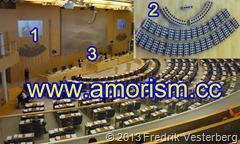 DSC01451.JPG Plenisalen i riksdagshuset även kallad Kammaren med voteringstavla och amorism