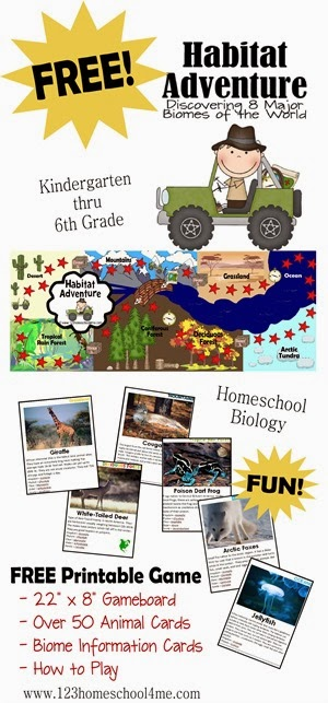 FREE Science Game for kids to explore Biology including biomes, habitats and taxonomy for elementary kids. SO fun, easy to play, beautiful animal pictures (homeschool, kindergarten, first grade, 2nd grade, 3rd grade, 4th grade, 5th grade, 6th gar