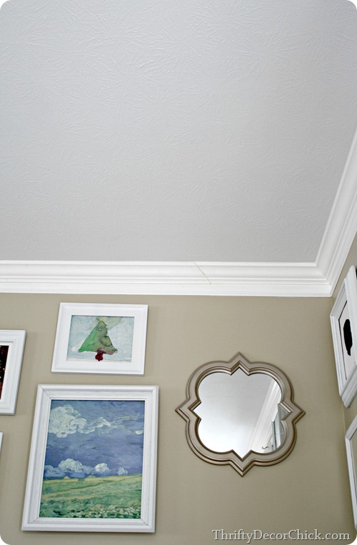 Family room in analytical gray from thrifty decor chick for Sherwin williams ceiling paint colors